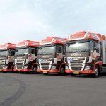 Zes DAF XF trucks Tiltrans